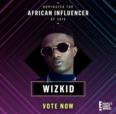 The African Influencer awards nominee, wizkid, Ayodeji Ibrahim Balogun, Nigerian artiste, people's choice awards