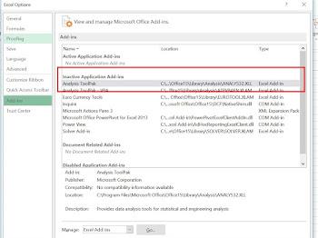 Cara Menampilkan Add-Ins Analysis Toolpak pada MS Excel