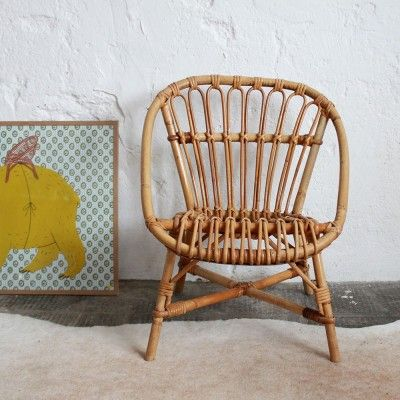Rattan chair in kids room