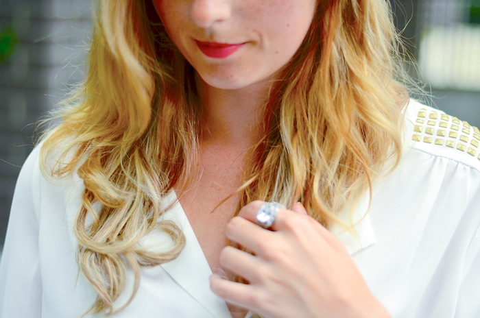 RW&Co studded white blouse