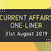 Current Affairs One-Liner: 31st August 2019
