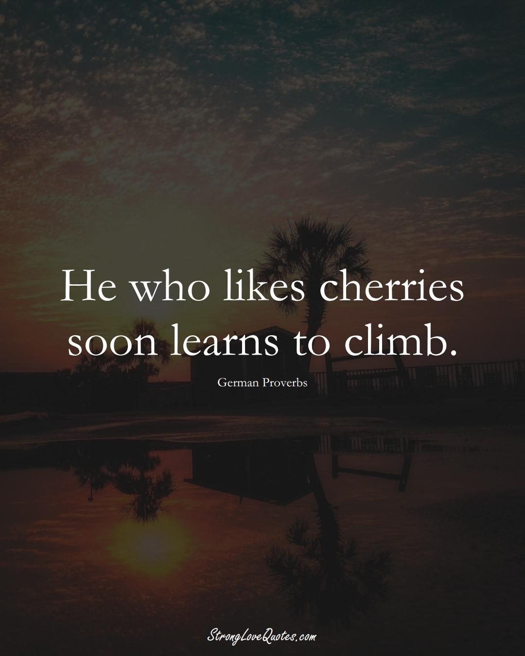 He who likes cherries soon learns to climb. (German Sayings);  #EuropeanSayings