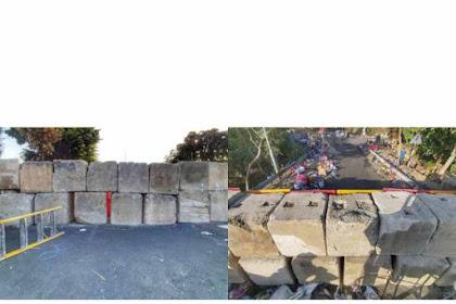 Jembatan Zhongda No. 2 Hong Kong di Blokir Lagi Dengan Menggunakan Balok Seberat  Kisaran 1 Ton