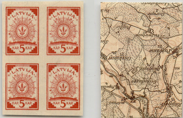 Latvia 1918 block of 4 map