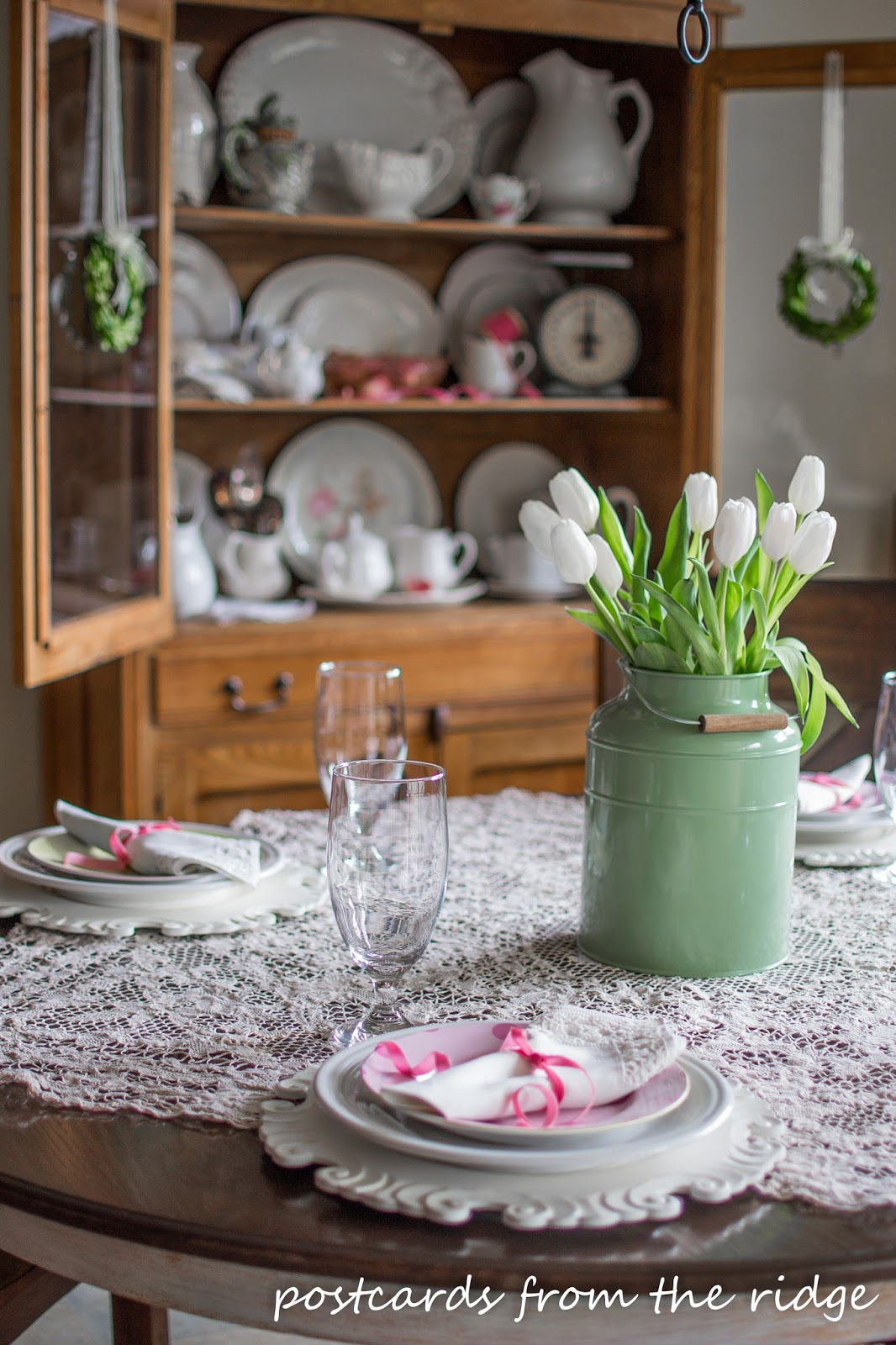 Spring table ideas using lace, flowers, pastels, and vintage finds. Postcards from the Ridge