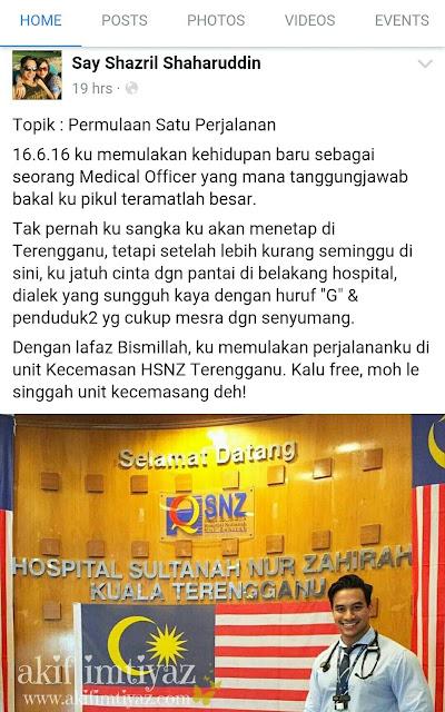 Hospital Sultanah Nur Zahirah Kuala Terengganu , HSNZ Kuala Terengganu , Dr Say Syazril  bertugas di HSNZ Kuala Terengganu , Dr Say Syazril , Siapa Dr Say Syazril , Dr handsome yang viral di laman sosial , Dr Say Syazril dah kahwin , Isteri Dr Say Syazril ,