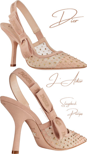 Nude Dior J'Adior tulle slingback pumps with thread and pearl embroidery #brilliantluxury