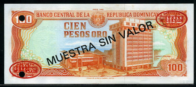 Dominican money 100 Pesos banknote paper money, Central Bank of the Dominican Republic