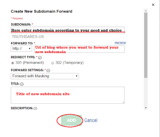 create new subdomain forwarding