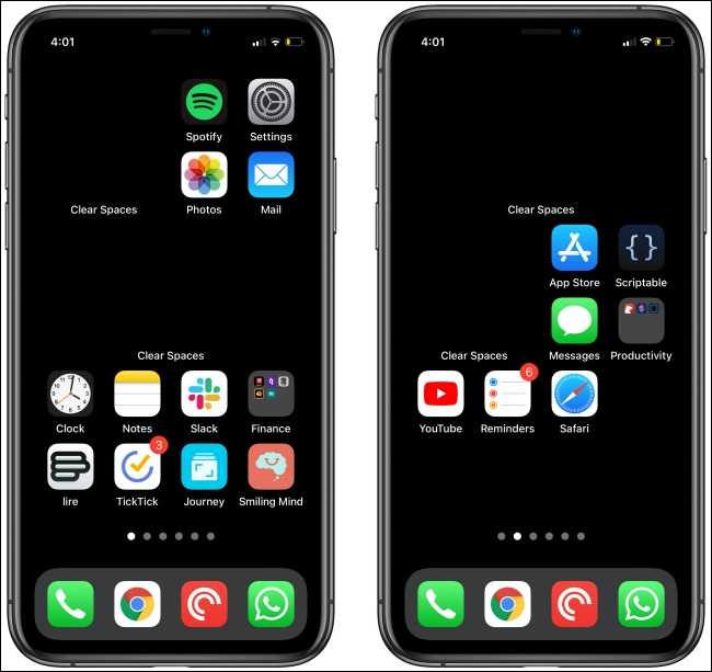امسح المساحات على شاشتين رئيسيتين في iPhone.