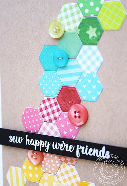 Sunny Studio Stamps: Quilted Hexagons Focus On Dies Friendship Card by Vanessa Menhorn