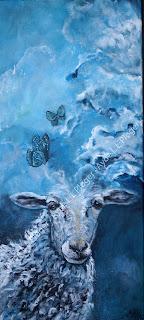 maleri, kunst, art,billeder til væggen,glad,farver,får,sheep,landskab,marsk,forskydning,psyke,acryl,ayoe lise,