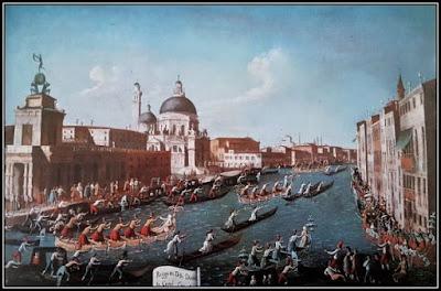 Πίνακας με λεμβοδρομία στο Μεγάλο Κανάλι της Βενετίας.