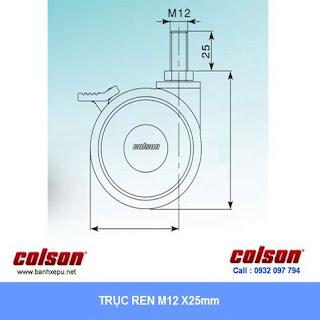 Bảng vẽ kích thước trục ren bánh xe đẩy PU bánh xe đôi CGT chịu tải trọng 40kg :