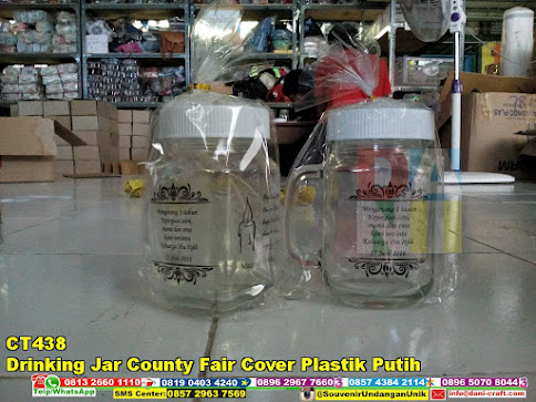 jual Drinking Jar County Fair Cover Plastik Putih