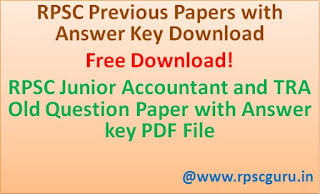 Free Download RPSC Junior Accountant and TRA Old Question Paper with Answer key PDF File