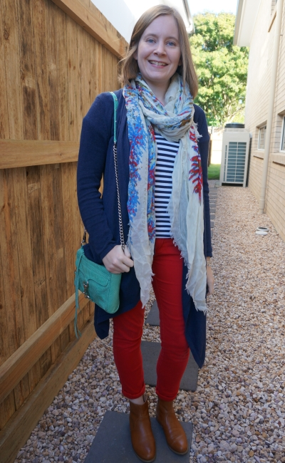 colourful winter layers red skinny jeans stripes scarf and navy waterfall cardigan outfit | away from blue