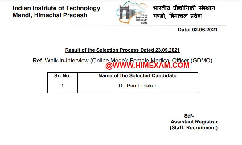 IIT Mandi Female Health Officer (GDMO) Result 2021