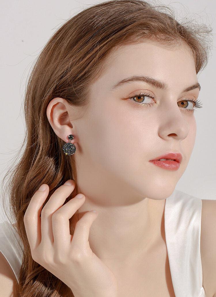 閃亮風復古藍灰水晶耳環