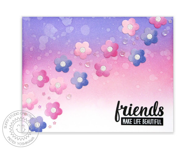 Sunny Studio Stamps: Friends & Family Flower Card by Mendi Yoshikawa