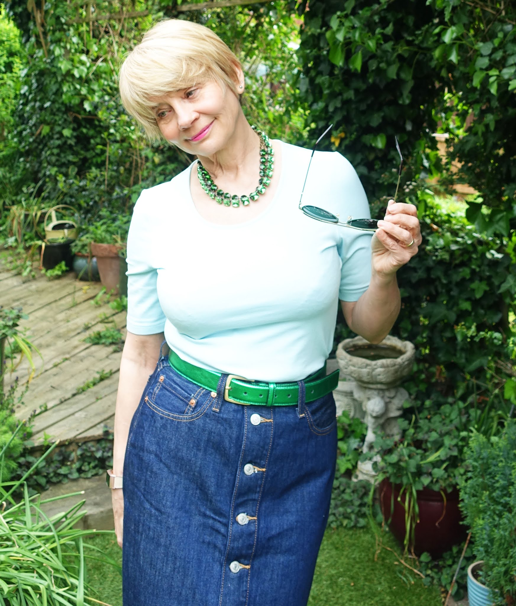 Gail Hanlon from Is This Mutton in denim button through midi skirt and light green top