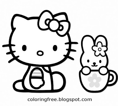 Baby rabbit in coffee cup Hello kitty coloring image free cute printables to color for teenage girls