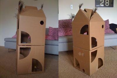 Casetas y juegos de cartón para gatos