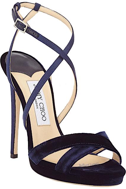 Jimmy Choo Lola navy blue velvet platform sandal #brilliantluxury