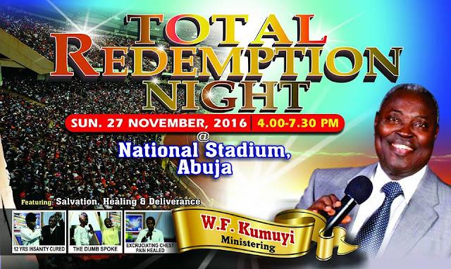 Join Pastor W. F. Kumuyi on Sunday 27th November 2016 at the National Stadium, Abuja. 4.00PM - 7.30PM.