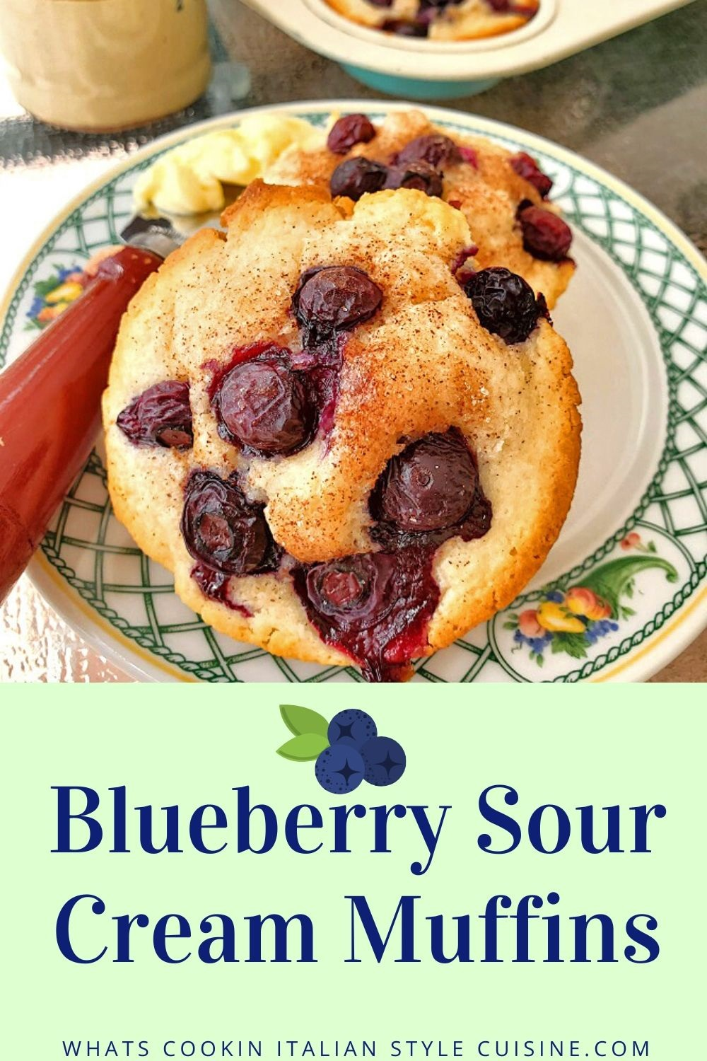 this is a pin for later with blueberries on top of sour cream muffins on a plate