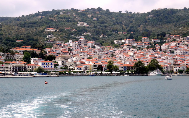 Panorama from the water of Skopelos Old Town