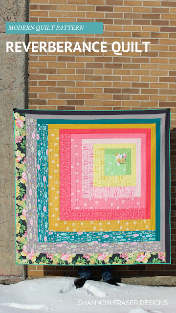 Reverberance Quilt Pattern featuring Joy Fabrics by Tamara Kate Design for Michael Miller Fabrics   Shannon Fraser Designs   Modern Log Cabin Quilt