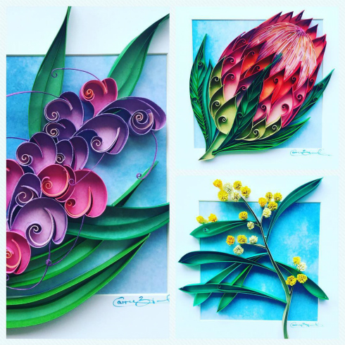 Three examples of Australian Flora Paper Art