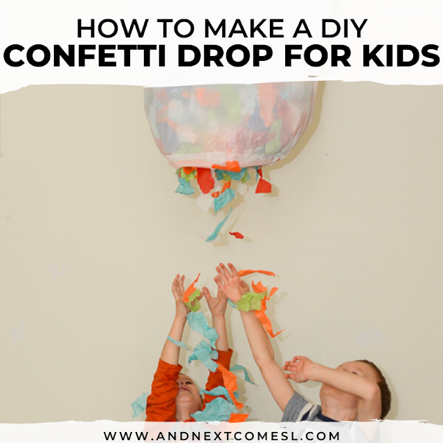 Confetti drop for kids - a simple New Year's eve activity for kids (or great for birthdays too!)