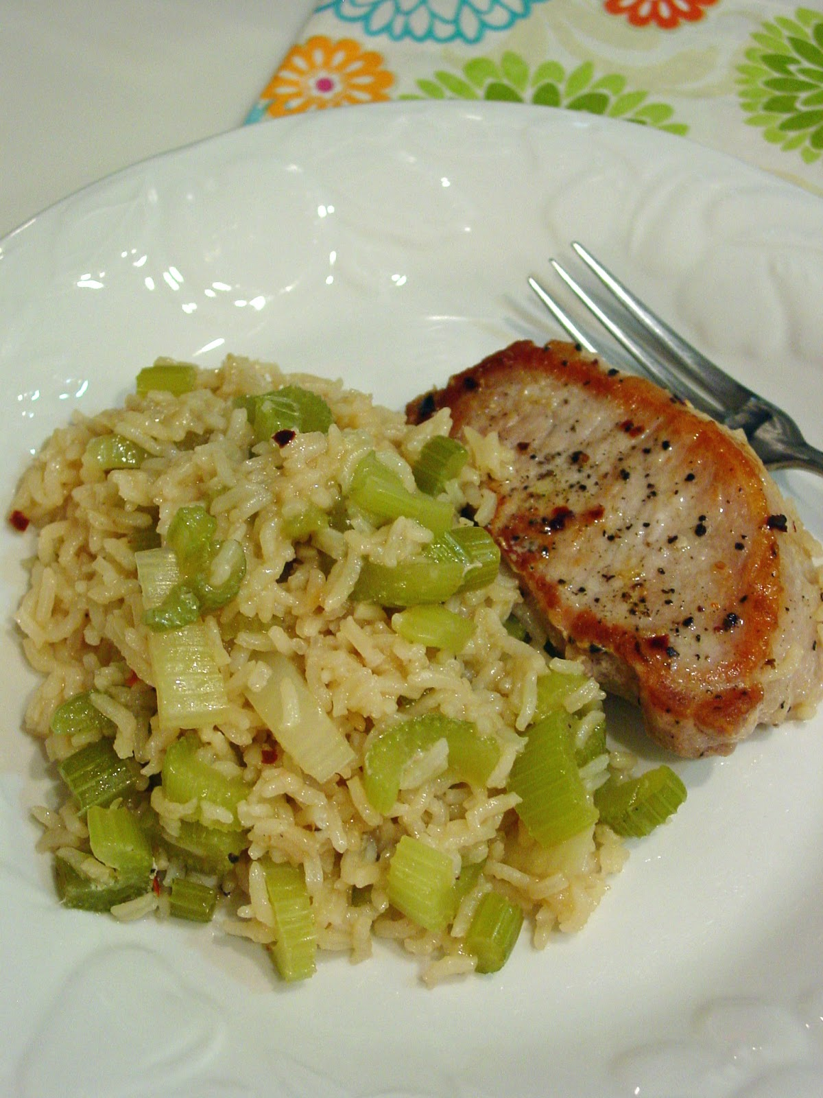Instant Pot Pork Chops And Celery Rice