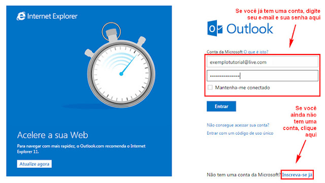 Tutorial para entrar no Hotmail