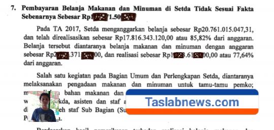 Bukti Temuan BPK kasus makan minum di Setdako Siantar.