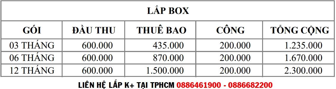 Giá bán đầu thu K+ TV BOX tại Quận 1 TPHCM