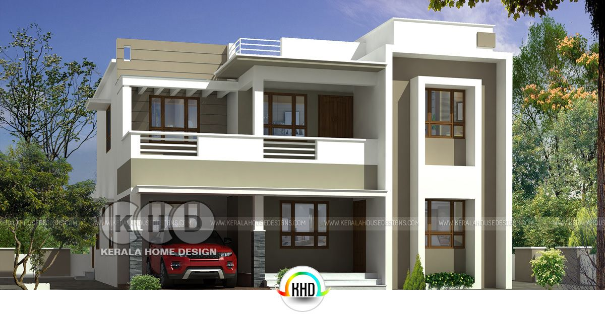 1750 Square Feet Contemporary Style Flat Roof Home Plan Kerala Home Design Bloglovin