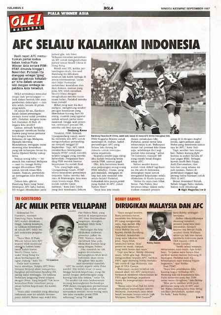 PIALA WINNER ASIA: AFC SELALU KALAHKAN INDONESIA