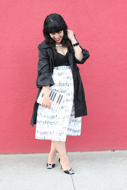 Black Trench Coat Chicwish Music Note Midi Skirt