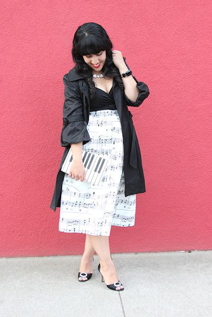 Black Trench Coat Chicwish Music Note Midi Skirt