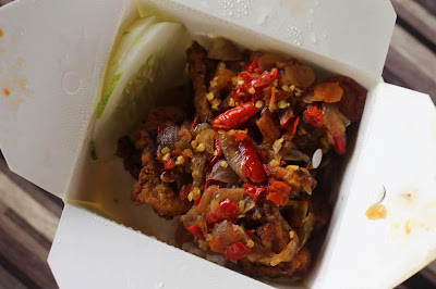 nasi dap ayam goreng sambal bawang