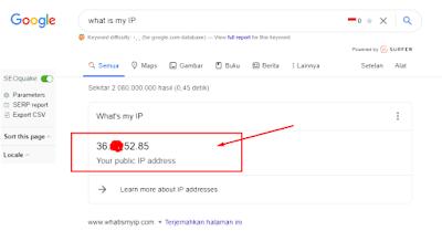 cek alamat ip address komputer melalui browser
