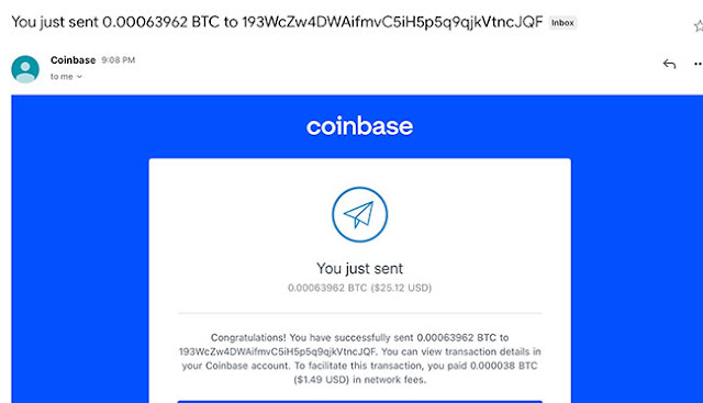 Sending $25 of Bitcoin to digital wallet on iPhone (Source: Palmia Observatory)