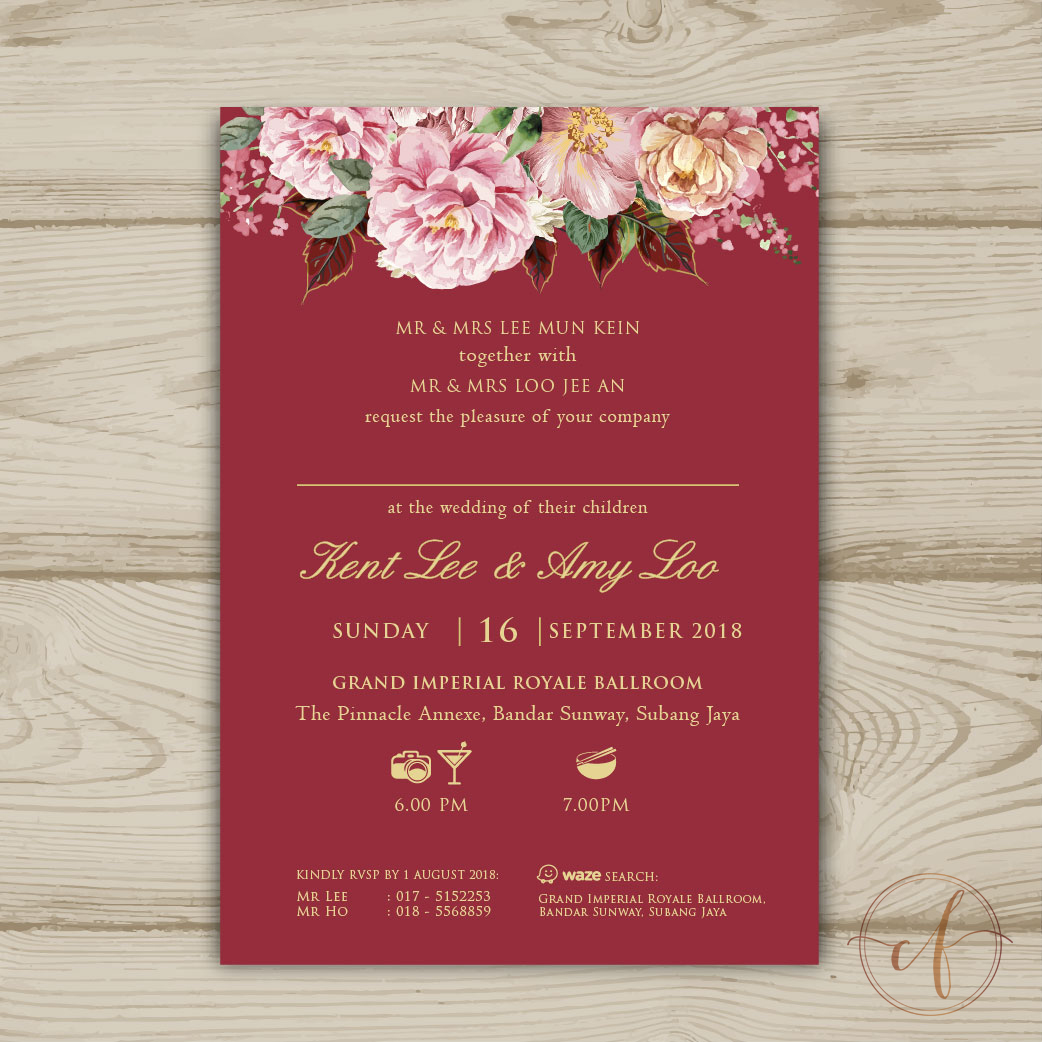 Wedding Card Malaysia | Crafty Farms Handmade : Red Gold Floral ...