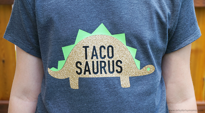 Share your love of tacos and dinosaurs with this Tacosaurus T-Shirt with Free Cut File!