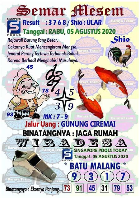 Semer Mesem SGP Rabu 05 Agustus 2020