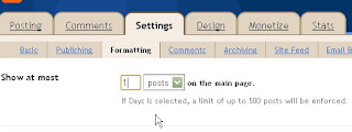 Gambar formating memunculkan satu postingan halaman depan