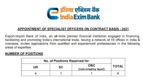 Apply For Specialist Officers In India Exim Bank Recruitment 2021